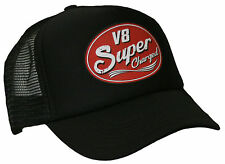 V8 Super Charged Trucker Cap Hot Rod V8 USCar Old School Bike Vintage Rock black