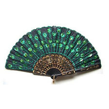 Green Sequins Peakcock Lace Lady's Silk Hand Fan Folding Embroider Exquisite Us