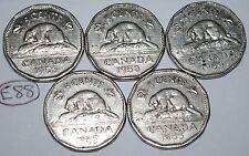 Canada 1955 1956 1957 1958 1959 5 Cents Elizabeth II Canadian Nickels Lot #E88