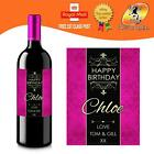 PERSONALISED HOT PINK BIRTHDAY ANY OCCASION WINE BOTTLE LABEL GIFT