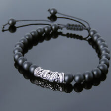 Men's Bracelet 6mm Matte Black Onyx 925 Sterling Silver Dragon Charm DIY-K 786M