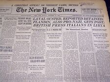 1940 DEC 15 NEW YORK TIMES - LAVAL OUSTED, FLANDIN GETS POST - NT 2544