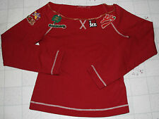MISS SIXTY Women Wide Neck Off Shoulder Cute Shamrock Fleece Blouse Top Red XS S