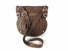 Fossil Cross Body Pleated Purse Hand Bucket Bag 100% Supple Soft Leather Brown