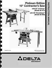 """Delta 10"""" Table Saw Instruction Manual for Model No. 36-477 - 36-485"""