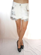 AE44 Vintage Distress Hot Pants Shorts Re-work Cut Off Sequin Custom High Waist
