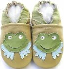 carozoo frog tan 6-12m soft sole leather baby shoes