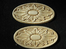 "Embossed Oval Design Wood Applique - ONLAY -4.25"" wide and 2 1/8"" hi - Pair of 2"