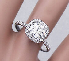 14K White Gold Round Forever One Moissanite and Diamond Engagement Ring 2.15ct