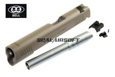 BELL Custom Slide For Marui / ARMY / BELL 1911 Toy GBB (Tan / Silver Barrel)