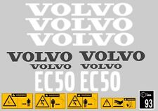 VOLVO EC50 DIGGER COMPLETE DECAL STICKER SET WITH SAFETY WARNING DECALS