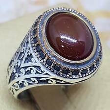 925 sterling silver ring genuine red kapidy yemen aqeeq agate akik  كبدي