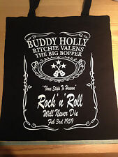 BUDDY HOLLY ROCK 'N' ROLL WILL NEVER DIE BLACK COTTON  TOTE BAG