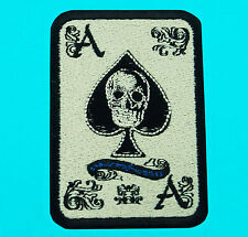 ACE OF SPADES DEATH CARDS Poker Skeleton Skull Embroidered Iron On Patch Seal