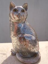 Chat métal argenté Christofle France sculpture chat collection lumière d'argent