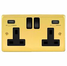 POLISHED BRASS DOUBLE SOCKET + 2 X USB CHARGING OUTLET WITH BLACK TRIM
