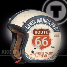 Route 66 PCH Open Face Retro Vintage Style Motorcycle Scooter 3/4 Helmet X-Large