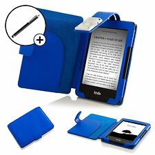 Leather Blue Smart Case Cover with Light Amazon Kindle (7th Gen 2014) + Stylus