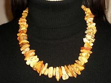 Genuine Antique Royal White and Butterscotch Baltic Amber Necklace 82 Gr
