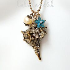 BETSEY JOHNSON Sea Shell Sea Star Mother of Pearl Crystal Charm Long Necklace