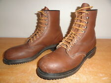 "Men's Vintage Dark Brown Leather RED WING 7"" Steel-Toe Work Safety Boots Sz-11C"