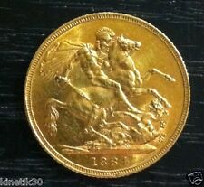 1884 'S' St George Young Head Victoria Gold Full Sovereign coin