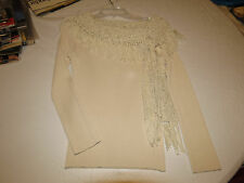 Pow Wow PL womens long sleeve sweater top ivory off white EUC^^