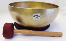 "J706 Energetic Root 'C' Chakra Healing 9.25"" Hand Hammered Tibetan Singing Bowl"
