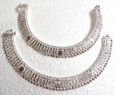 KUCHI TRIBAL ETHNIC BELLYDANCE SILVER TONE ANKLET~PAYAL JEWELRY INDIA 2PC