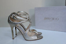 New sz 8 / 38 Jimmy Choo Lang Gold Metallic Leather Sttrapy Sandal Shoes