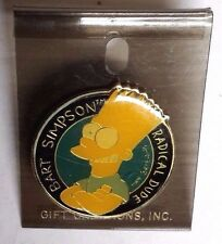 "Vintage 1990 Bart Simpson Metal 1.25"" Enamel Pin on Card- FREE S&H (ANPI-BS)"