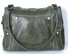 AURIELLE GREEN GENUINE LEATHER  LARGE TOTE HANDBAG / SHOULDER BAG