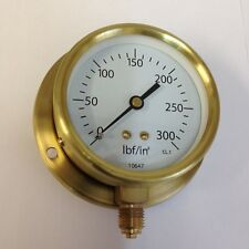 "3"" steam Brass pressure gauge with back plate 0-300 psi"