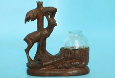 Antique Swiss Black Forest Wood Carving Inkwell Stag Pine Tree Jobin Brienz