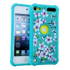 iPod Touch 5th 6th Gen - HARD & SOFT HYBRID DIAMOND BLING CASE BLUE PINK FLOWERS