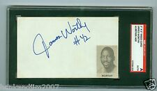 James Worthy Autographed Index Card with picture SGC Authentic Encased