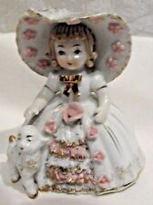 Vintage Lefton China k1052 Mary Had a Little Lamb Hand Painted Signed Figurine