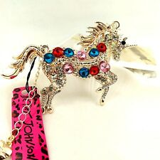 Betsey Johnson Multi Crystal Horse Pendant Crystal pendant Long necklace JJ98