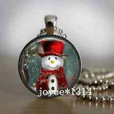 Vintage Christmas Cabochon Tibetan silver Glass Chain Pendant Necklace ^XP-456