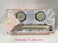 100% New Baby Girl Birth Certificate Holder and My First Tooth & Curl Set - Pink