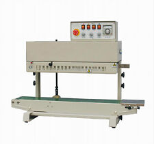 Table Top Vertical Stainless Steel Band Sealer w/ Inc Printer Continuous Sealing