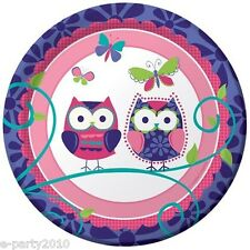 PATCHWORK OWL SMALL PAPER PLATES (8) ~ Birthday Party Supplies Cake Dessert Pals
