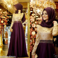 Hot Muslim Long Sleeve Formal Evening Prom Ball Party Dresses Arabic Pageant