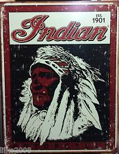 INDIAN MOTORCYCLES, INDIAN CHIEF, ANTIQUE-FINISH VINTAGE METAL WALL SIGN 40X30cm
