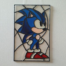 Sonic the Hedgehog Faux Stained Glass Panel / wall art / suncatcher. sega