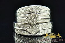 10K White Gold Diamond Trio Bridal Engagement Ring Set  His And Her Wedding Band