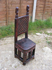 Unusual Antique Vintage Style African Handmade Carved Tribal Wooden Chair Stool