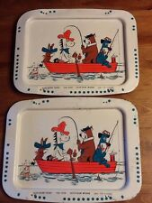 2 HANNA BARBERA TV DINNER LAP TRAYS YOGI HUCKLEBERRY HOUND QUICK DRAW MCGRAW