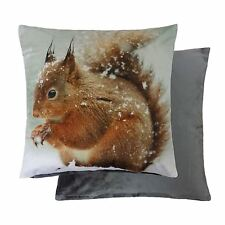 """CHRISTMAS WINTER SQUIRREL RED SILVER GREY CUSHION COVER 17"""" - 43CM"""