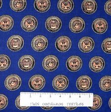Military Fabric - American Heroes Seals Navy Air Force Army - Windham YARD
